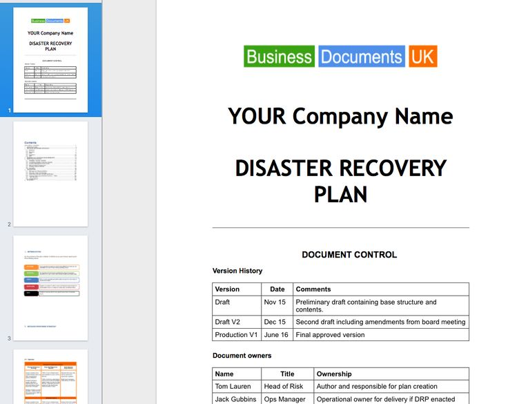 website disaster recovery plan example