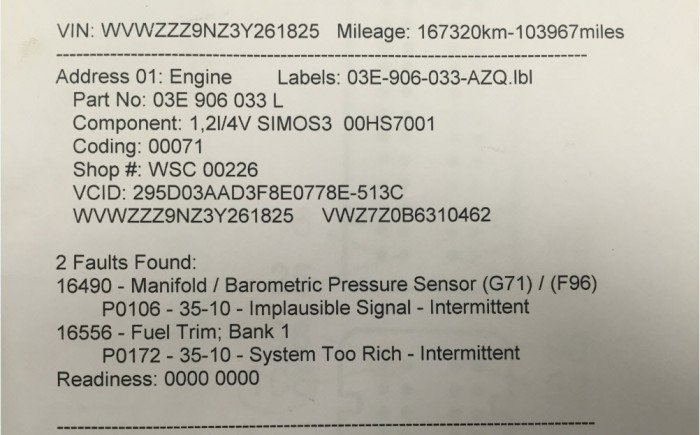 2 example of intermittent fault in car safety system
