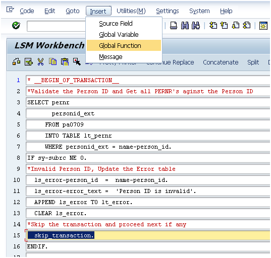 on change of in sap abap example