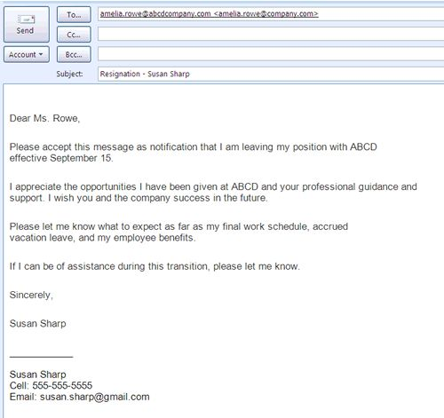 example of letter of resignation in business