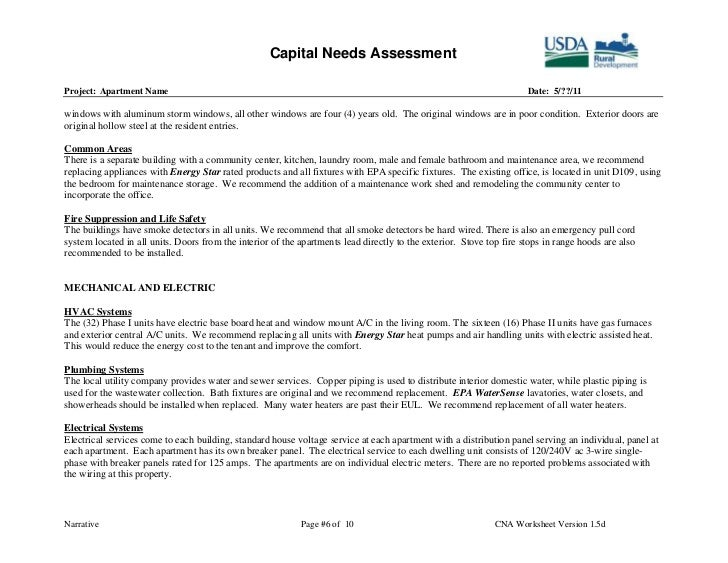 example of an assessment plan filled in