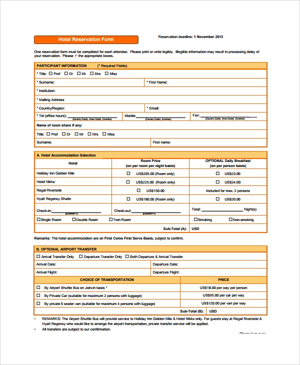 example of booking sheet for accommodation