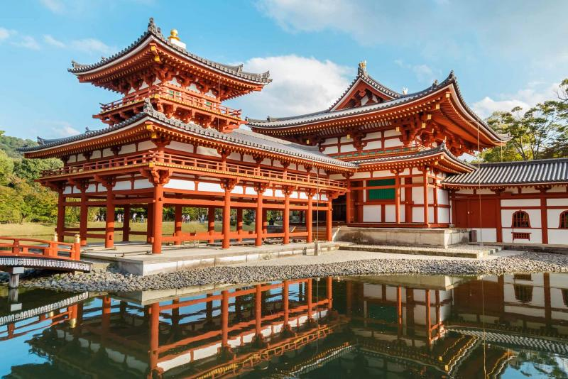 the byodo-in in kyoto japan is an elegant example of